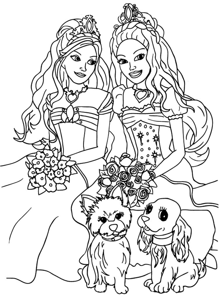 Printable Coloring Sheets For Girls  Barbie Coloring Pages For Girls