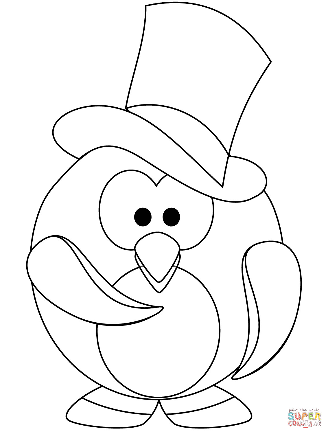 Printable Penguin Coloring Pages  The Gentleman Penguin coloring page