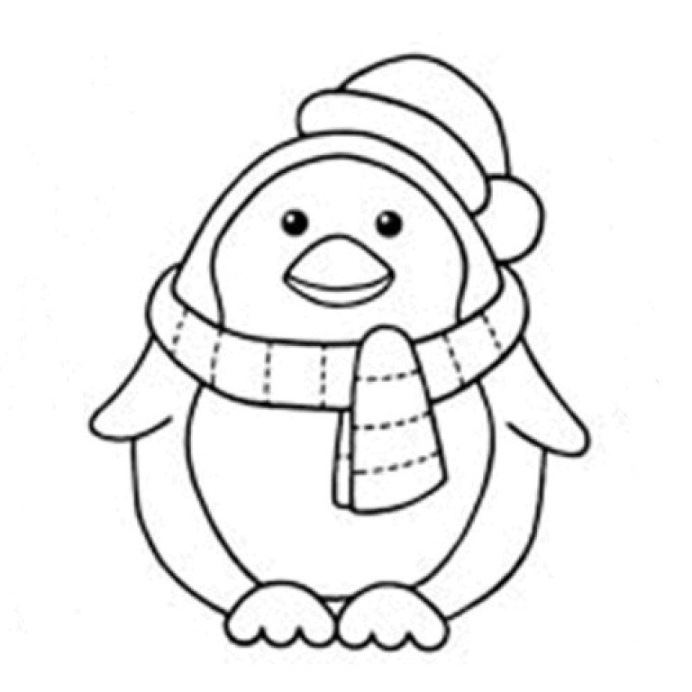 Printable Penguin Coloring Pages  Penguin With Scraft Coloring Page