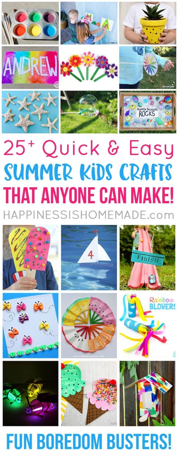 Quick And Easy Crafts For Kids  These quick and easy summer kids crafts can be made in