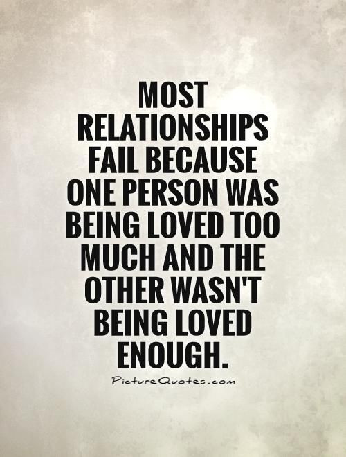 Quotes About Failing Marriages  Most relationships fail because one person was being loved