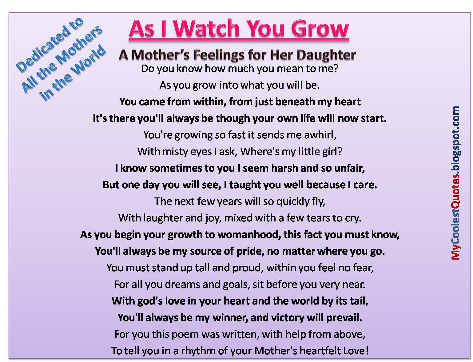 Quotes From Mother To Daughter  Dishwasher Daughter to mother quotes