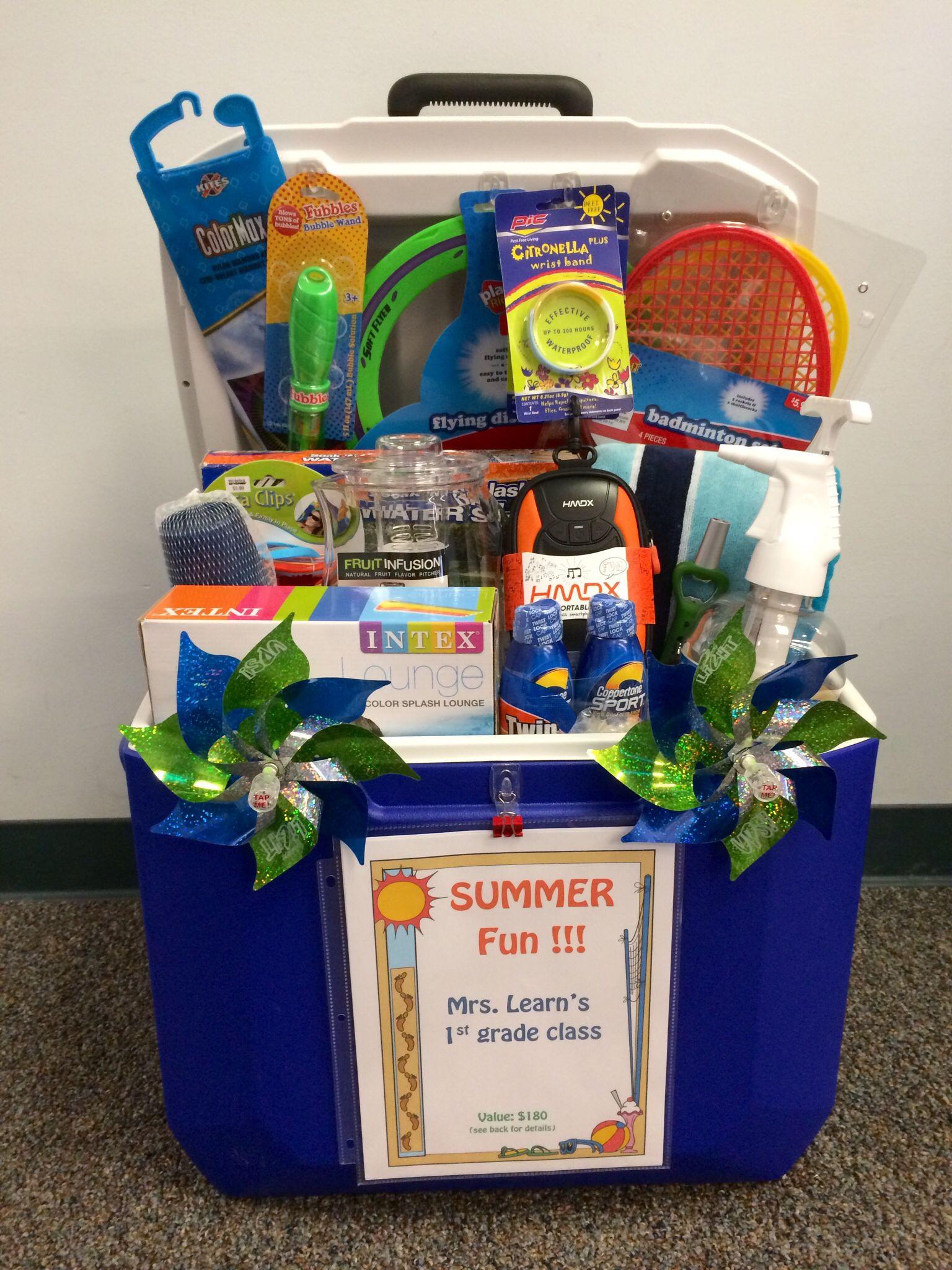 "Raffle Gift Basket Ideas  Silent auction ""basket"" for school fundraiser using ice"