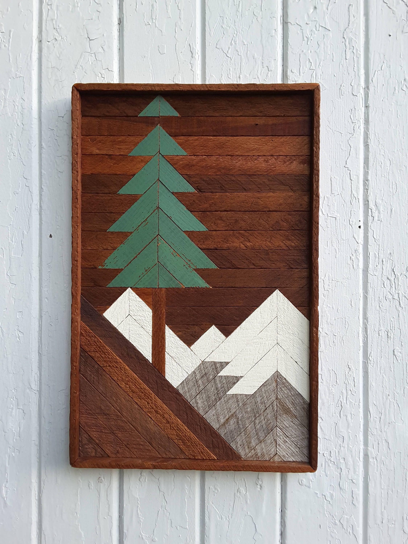 """Reclaimed Wood Wall Art DIY  Reclaimed Wood Wall Art Mountain Pine Tree Scene 20"""" by"""
