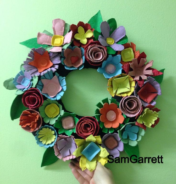 Recycled Craft Ideas For Adults  egg carton wreath recycled crafts egg carton craft for