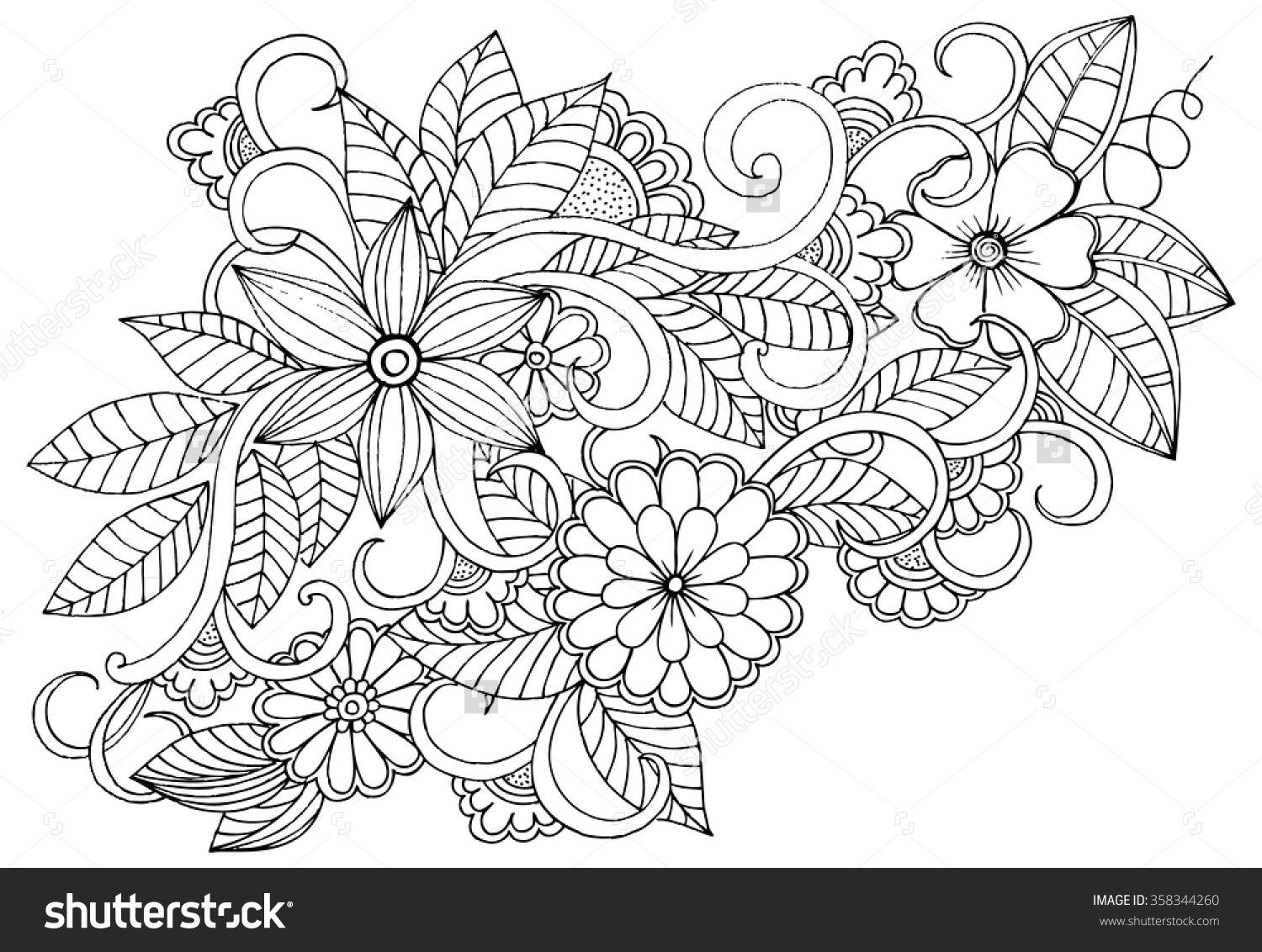 Relaxing Coloring Pages For Kids  Doodle floral pattern in black and white Page for