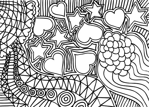 Relaxing Coloring Pages For Kids  Doodle Coloring Page – Hearts and Stars