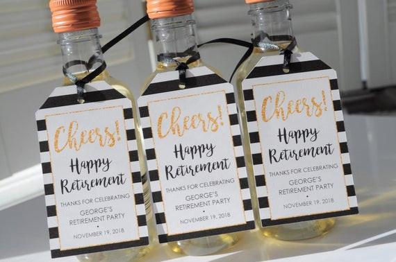 Retirement Party Favor Ideas  Retirement Party Favor Tags Happy Retirement Mini Wine