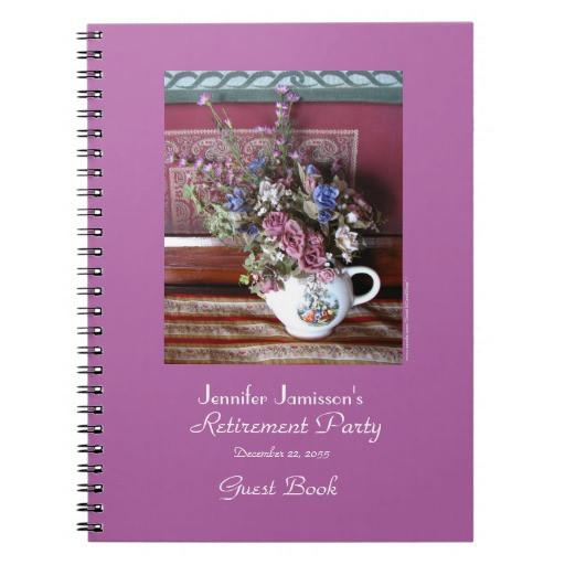 Retirement Party Guest Book Ideas  Retirement Party Guest Book Vintage Teapot Spiral