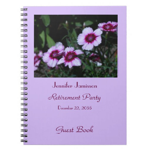Retirement Party Guest Book Ideas  Retirement Party Guest Book Purple Flowers Notebook