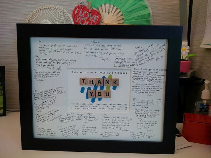 Retirement Party Ideas For Boss  A framed note of Thank You makes a great farewell t