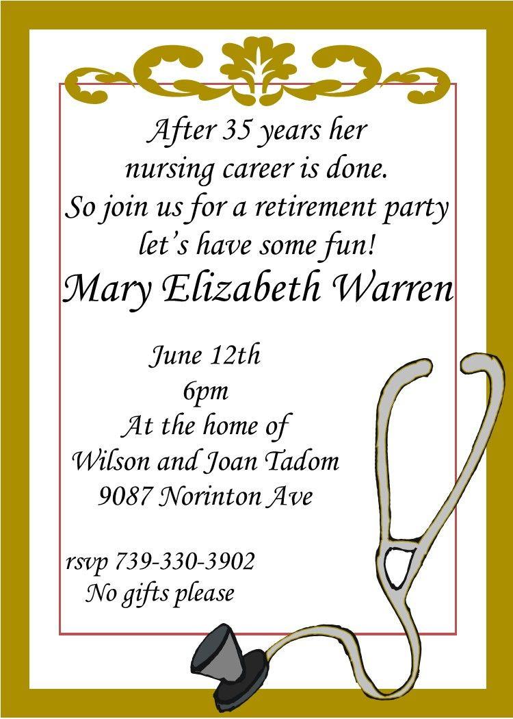 Retirement Party Invitation Wording Ideas  Nursing Retirement party invitations custom made