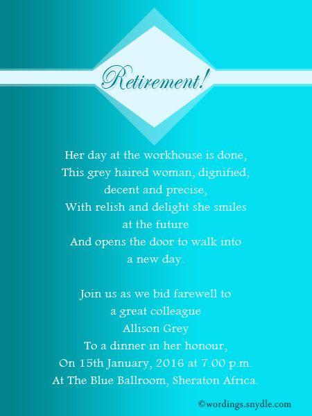 Retirement Party Invitation Wording Ideas  Best 25 Retirement party invitation wording ideas on