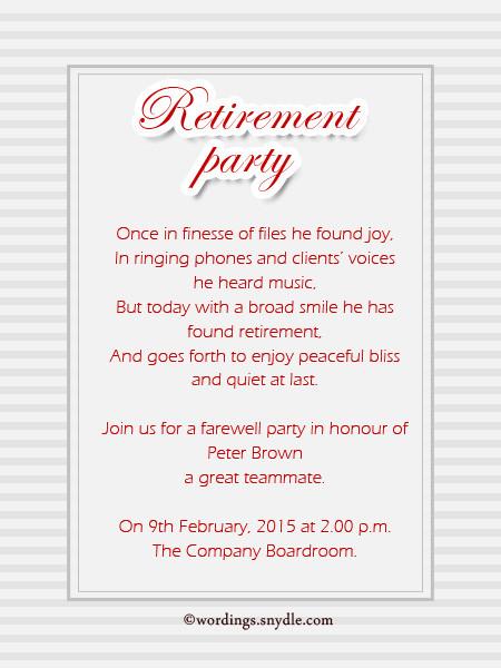 Retirement Party Invitation Wording Ideas  Retirement Party Invitation Wording Ideas and Samples
