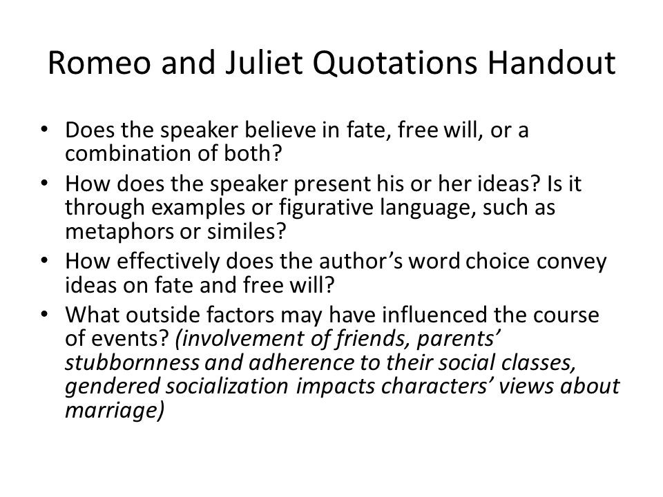 Romeo And Juliet Marriage Quotes  Fate V Free Will Essential Questions ppt