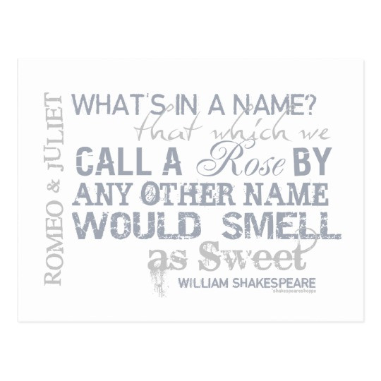Romeo And Juliet Marriage Quotes  Romeo & Juliet Name Quote Postcard