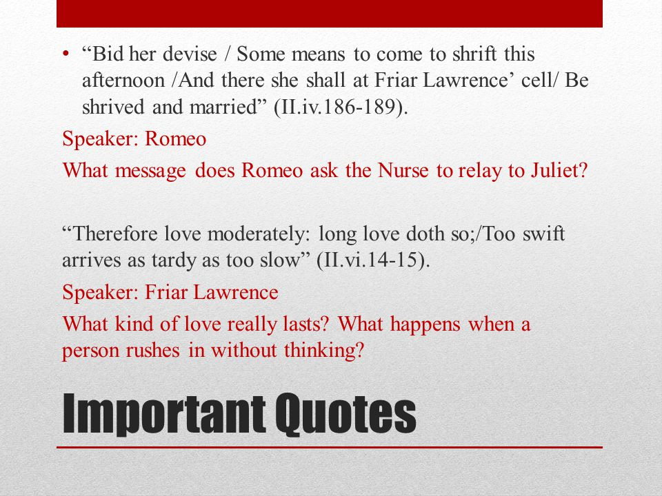Romeo And Juliet Marriage Quotes  Romeo and Juliet Act II ppt video online