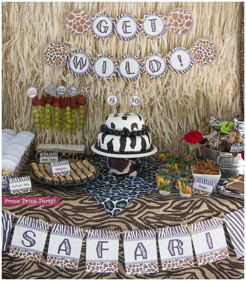 Safari Birthday Party Decorations  Safari Party Printables Animal prints Party supplies and