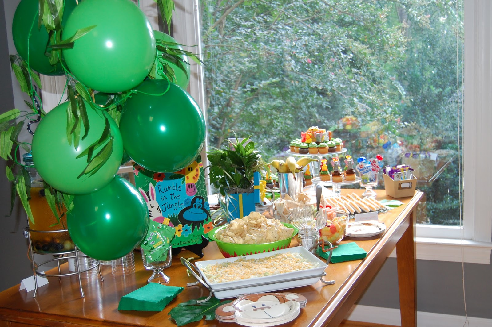 Safari Birthday Party Decorations  The Clueless Chick Rumble in the Jungle 2nd Birthday Party