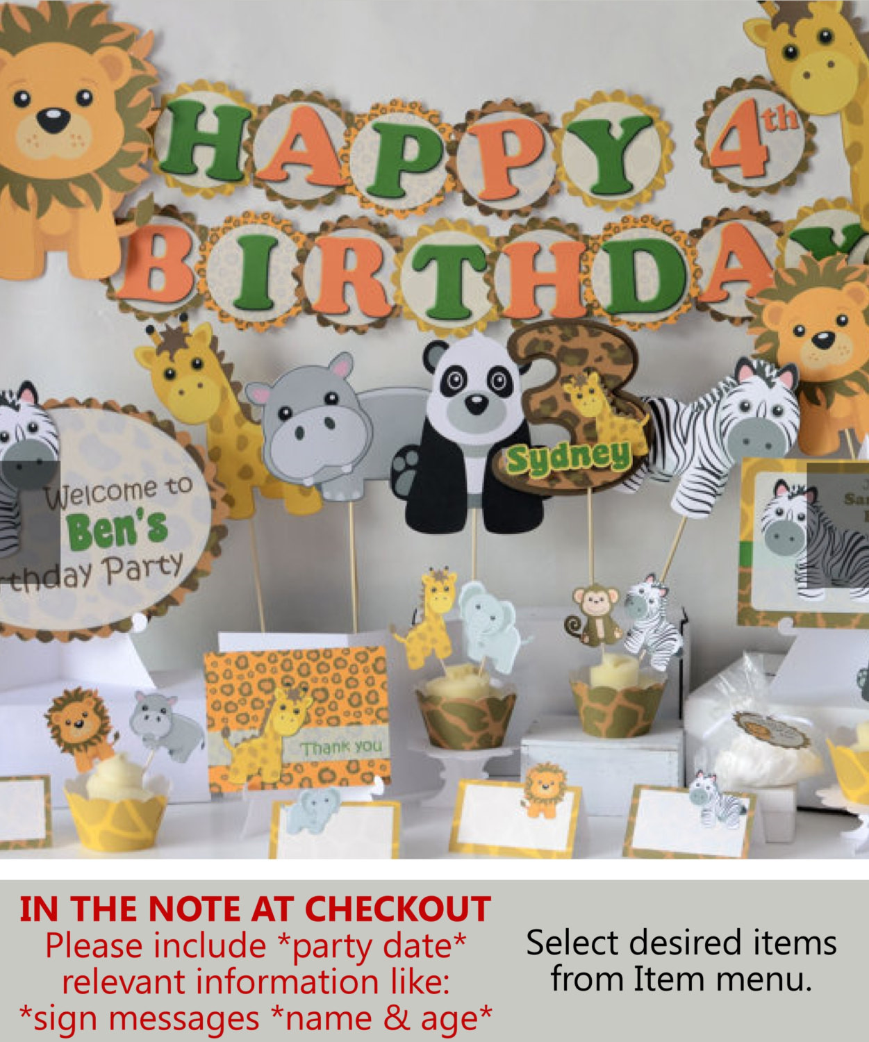 Safari Birthday Party Decorations  Jungle Birthday Party Supplies Safari Baby Shower Decorations