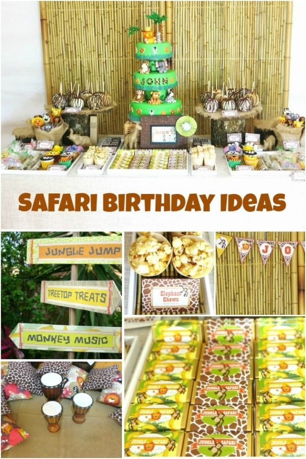 Safari Birthday Party Decorations  Jungle Safari Themed First Birthday Party Spaceships and