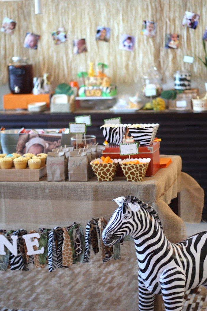 Safari Birthday Party Decorations  Kara s Party Ideas Mod Jungle Safari Birthday Party