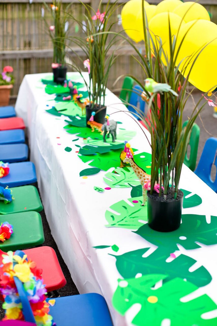 Safari Birthday Party Decorations  Kara s Party Ideas Tropical Rainforest Jungle Animal