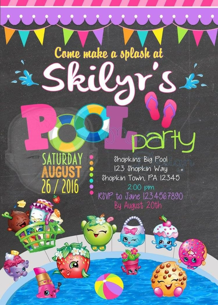 Shopkins Pool Party Ideas  Shopkins Themed Pool Party Invitation by Martin Design
