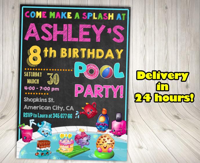 Shopkins Pool Party Ideas  SHOPKINS POOL PARTY Shopkins Invitation