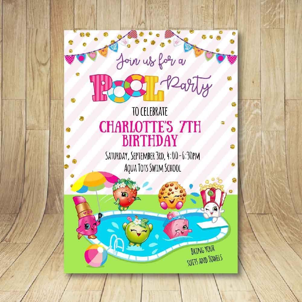 Shopkins Pool Party Ideas  Printable shopkins pool party birthday invitation