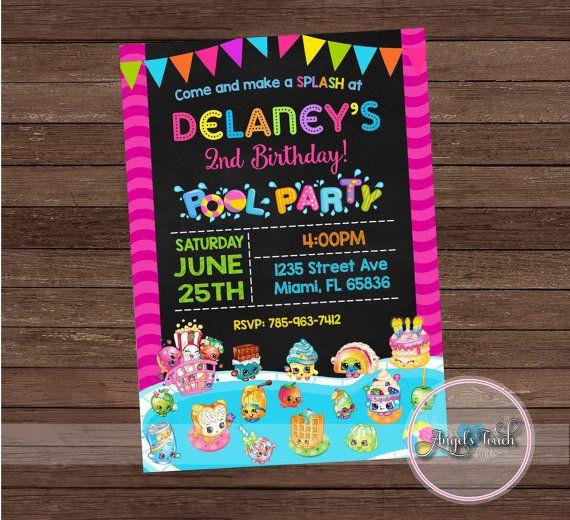 Shopkins Pool Party Ideas  Shopkins Pool Party Invitation Shopkins Birthday