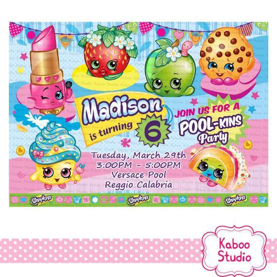 Shopkins Pool Party Ideas  YOU PRINT Pool Shopkins DIGITAL Birthday Party by KabooStudio