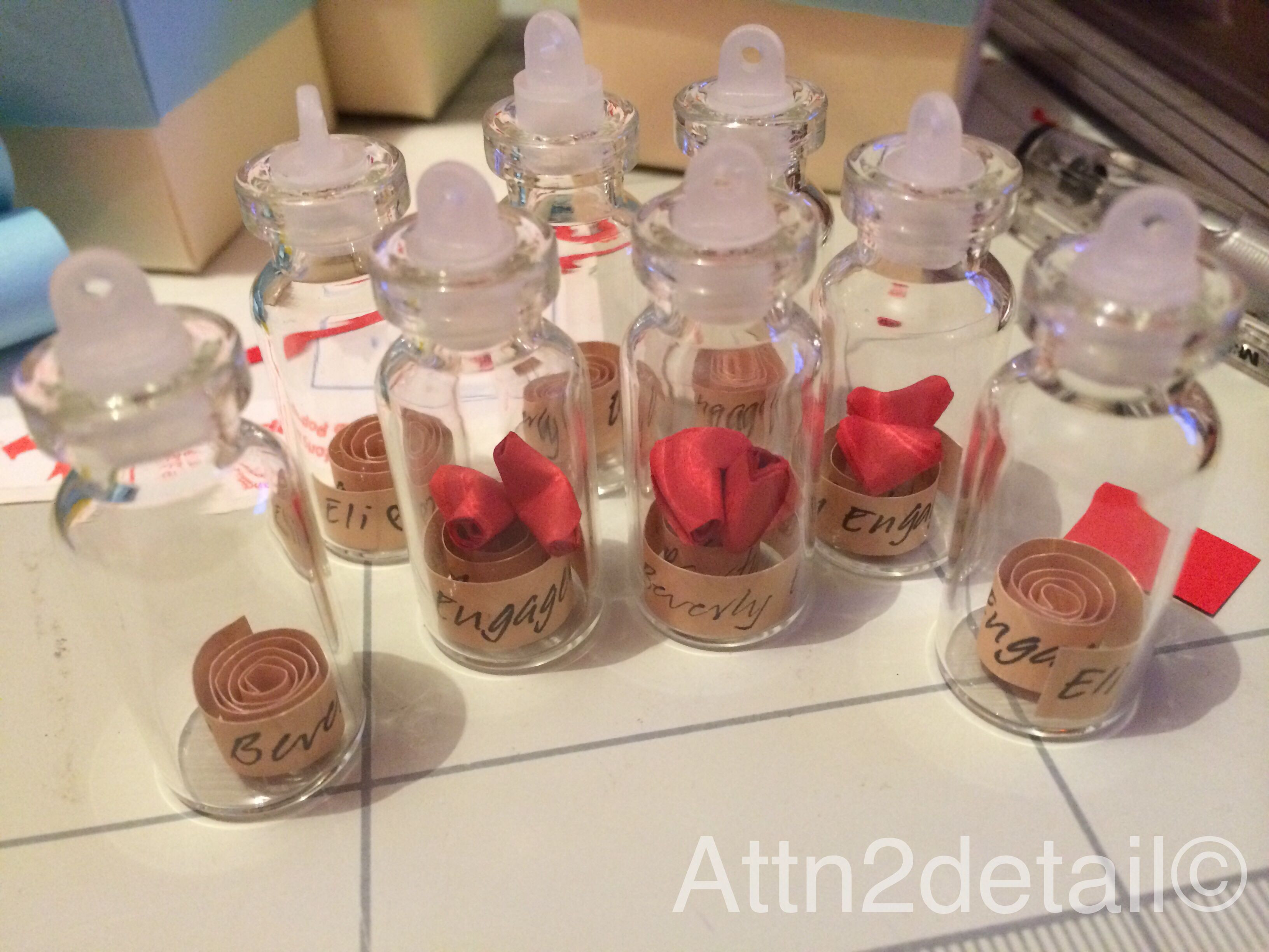 Small Engagement Party Ideas  Personalized small bottle engagement party giveaways