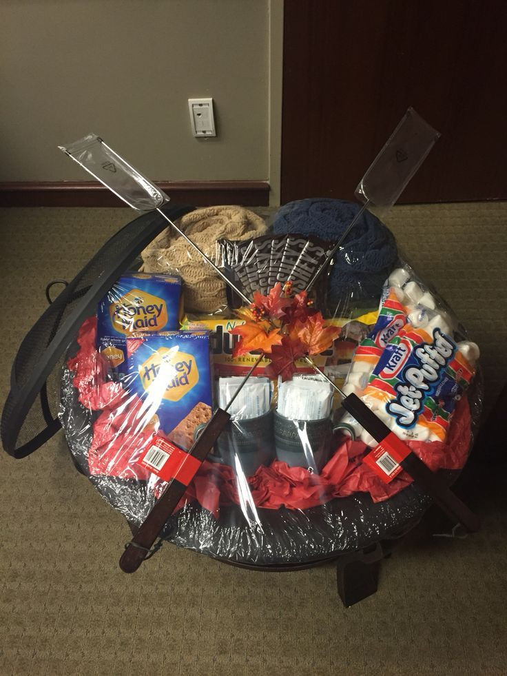 Small Gift Basket Ideas  Fire pit and all the fixings silent auction prize