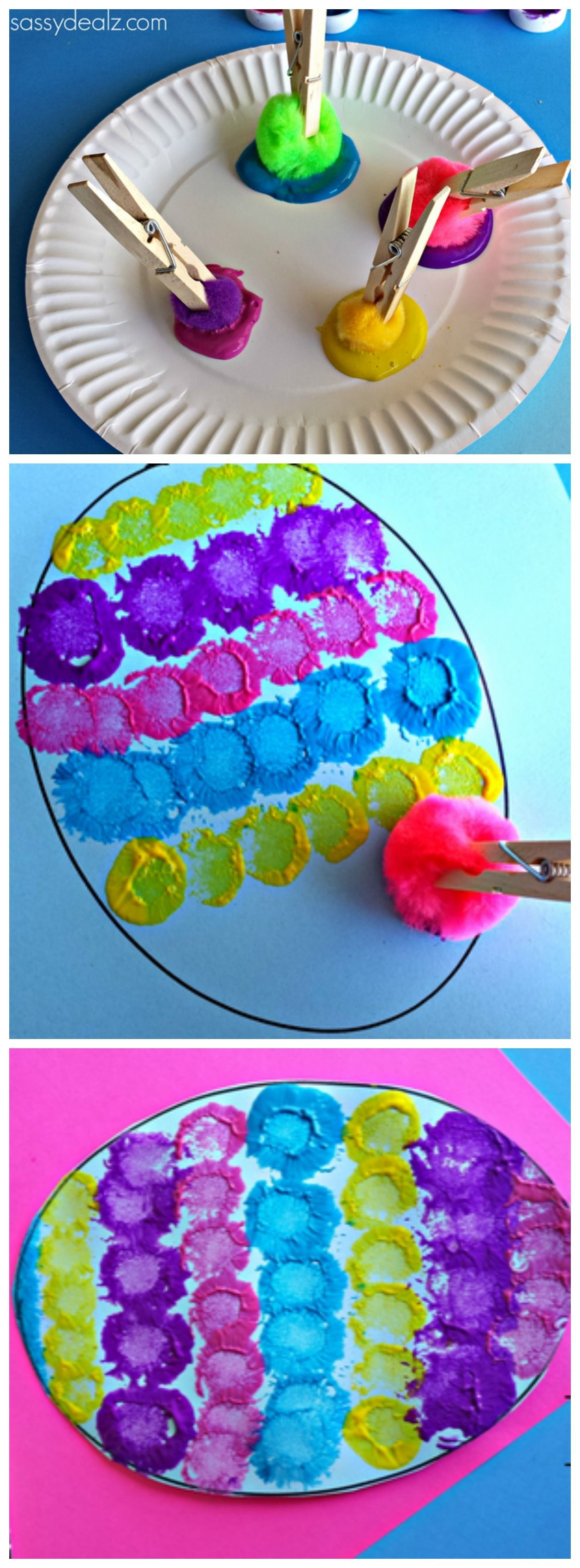 Spring Crafts Preschool  Easter Craft for Kids using pom poms clothespins and