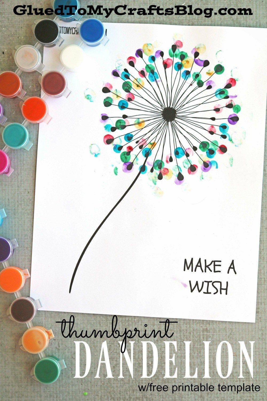 Spring Crafts Preschool  Thumbprint Dandelion Kid Craft w free printable