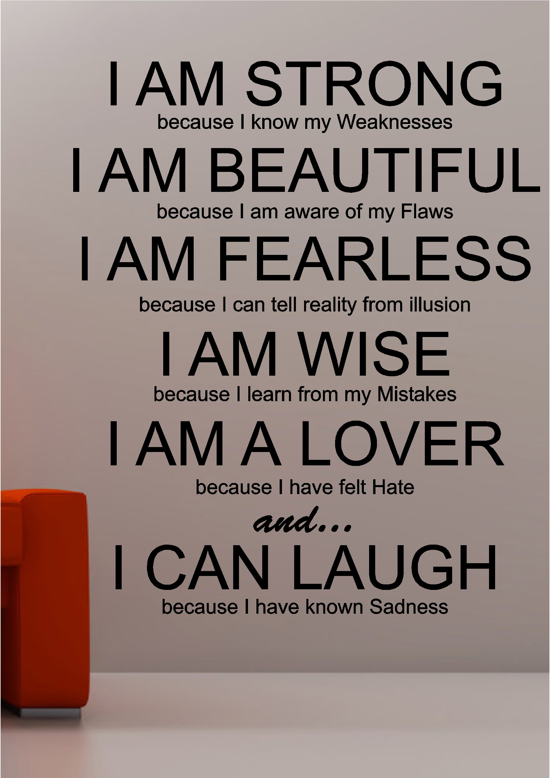Strong Inspirational Quotes  I am Strong inspirational wall art quote sticker vinyl