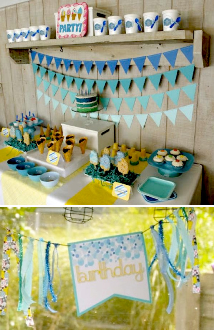Summer Birthday Party Ideas For Boys  Kara s Party Ideas Ice Cream Themed 8th Birthday Party