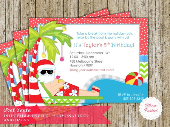 Summer In Winter Party Ideas  Christmas Pool Party Invitation Winter Pool Party Swimming