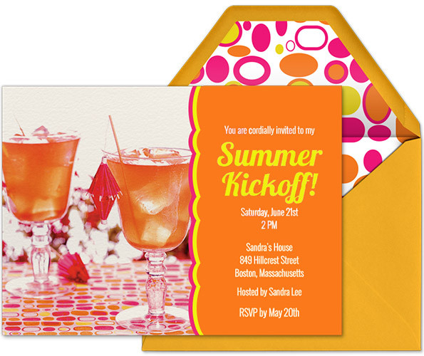 Summer Kickoff Party Ideas  Sandra Lee s Summer Invitations and Thank Yous Evite