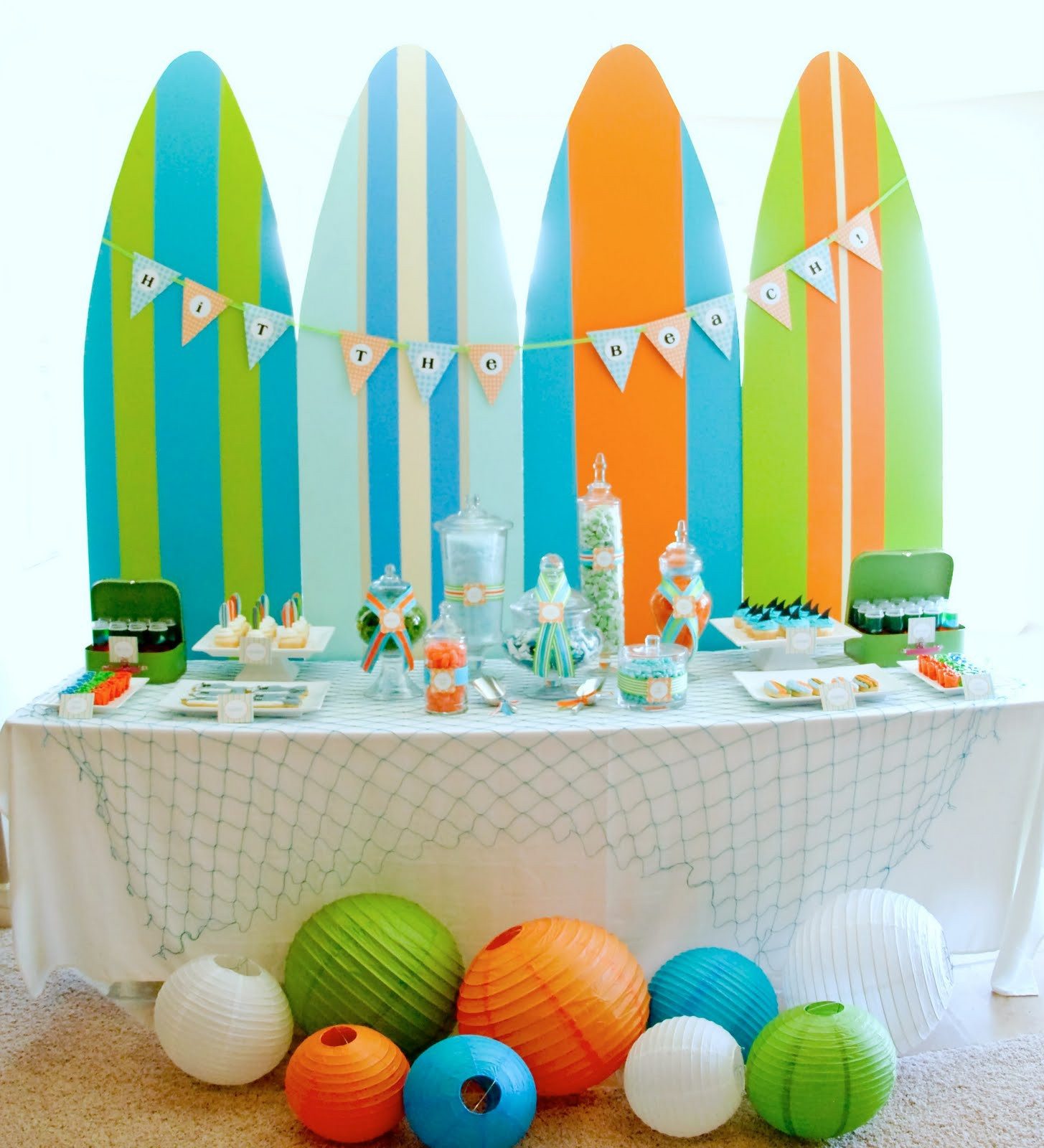Summer Theme Party Ideas  Kara s Party Ideas Surf s Up Summer Pool Party