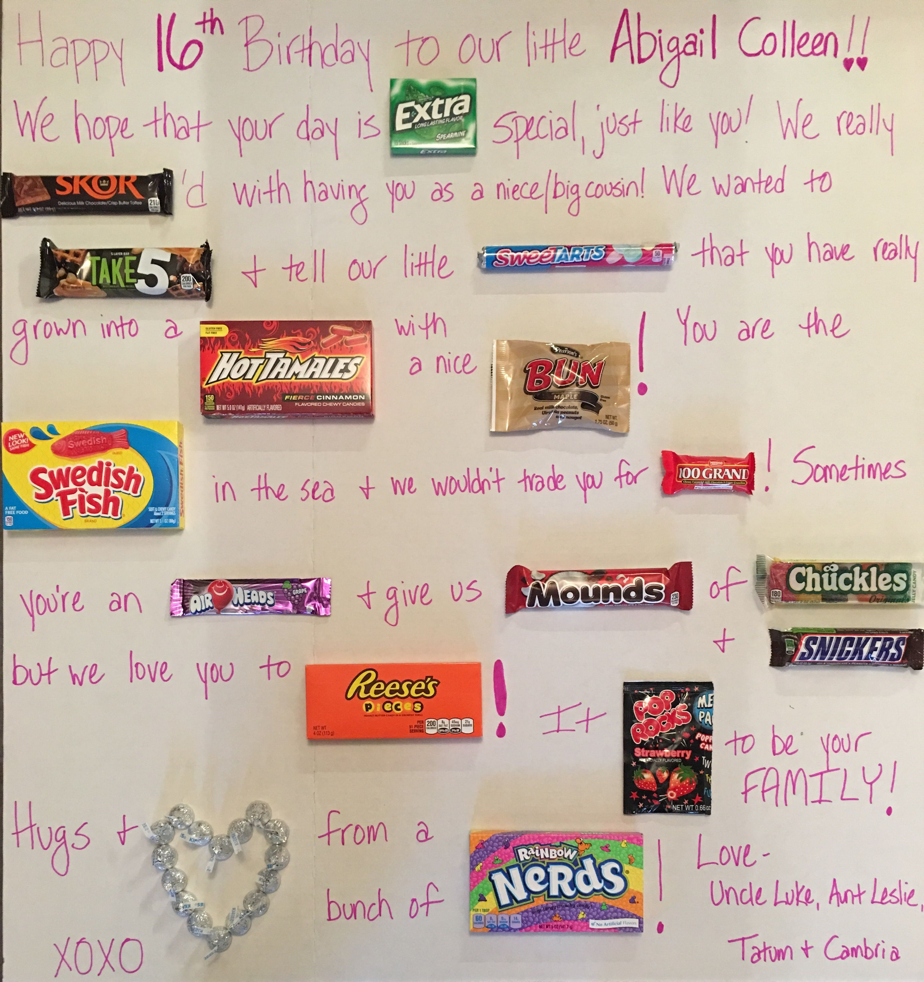 Sweet Sixteen Gift Ideas For Girls  Sweet 16 Candy Board Gift Ideas for Girls