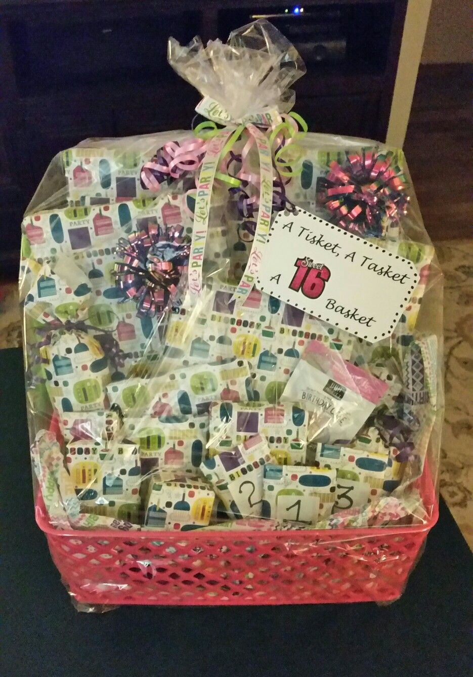 Sweet Sixteen Gift Ideas For Girls  A Tisket A Tasket A Sweet 16 Basket Filled with 16