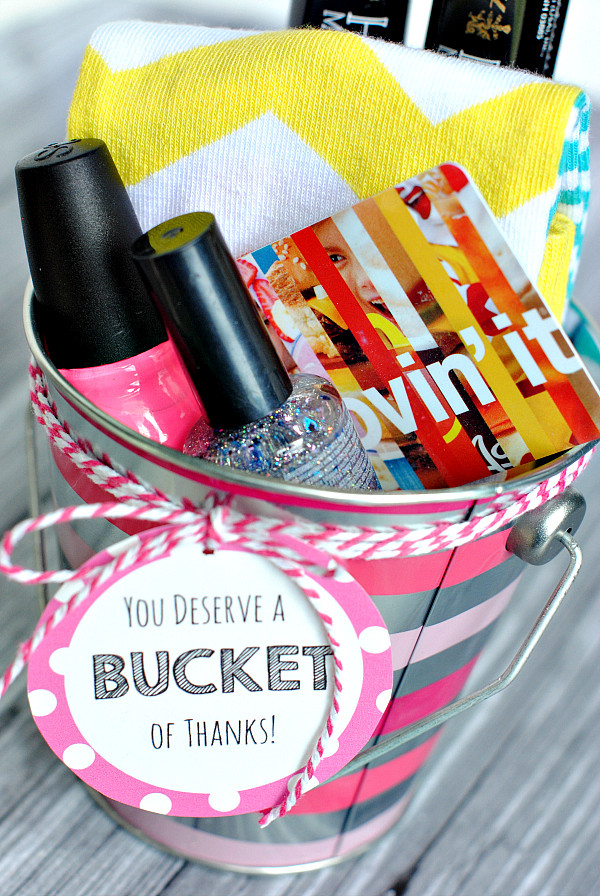 Thank You Gift Card Ideas  Thank You Gift Ideas Bucket of Thanks Crazy Little Projects