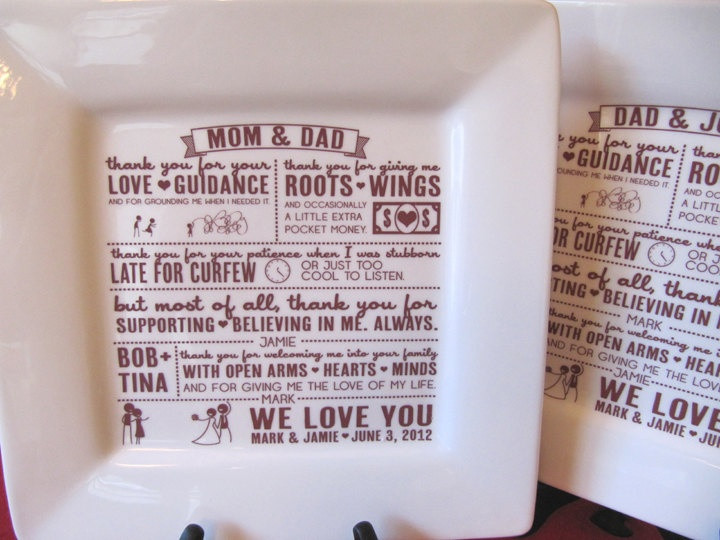 Thank You Gift Ideas For Parents  Parent Wedding Gift Thank You Platter from Bride and