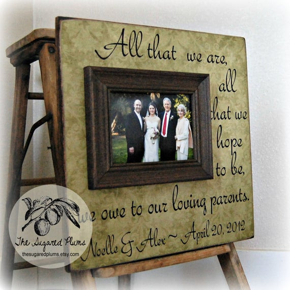 Thank You Gift Ideas For Parents  Parents Thank You Gifts Wedding Personalized Picture Frame