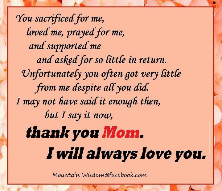 Thank You Mother Quotes  Best 25 Thank you mom ideas on Pinterest