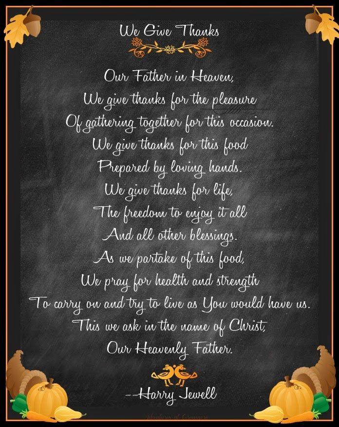 Thanksgiving Blessing Quotes  Free Thanksgiving prayer printable