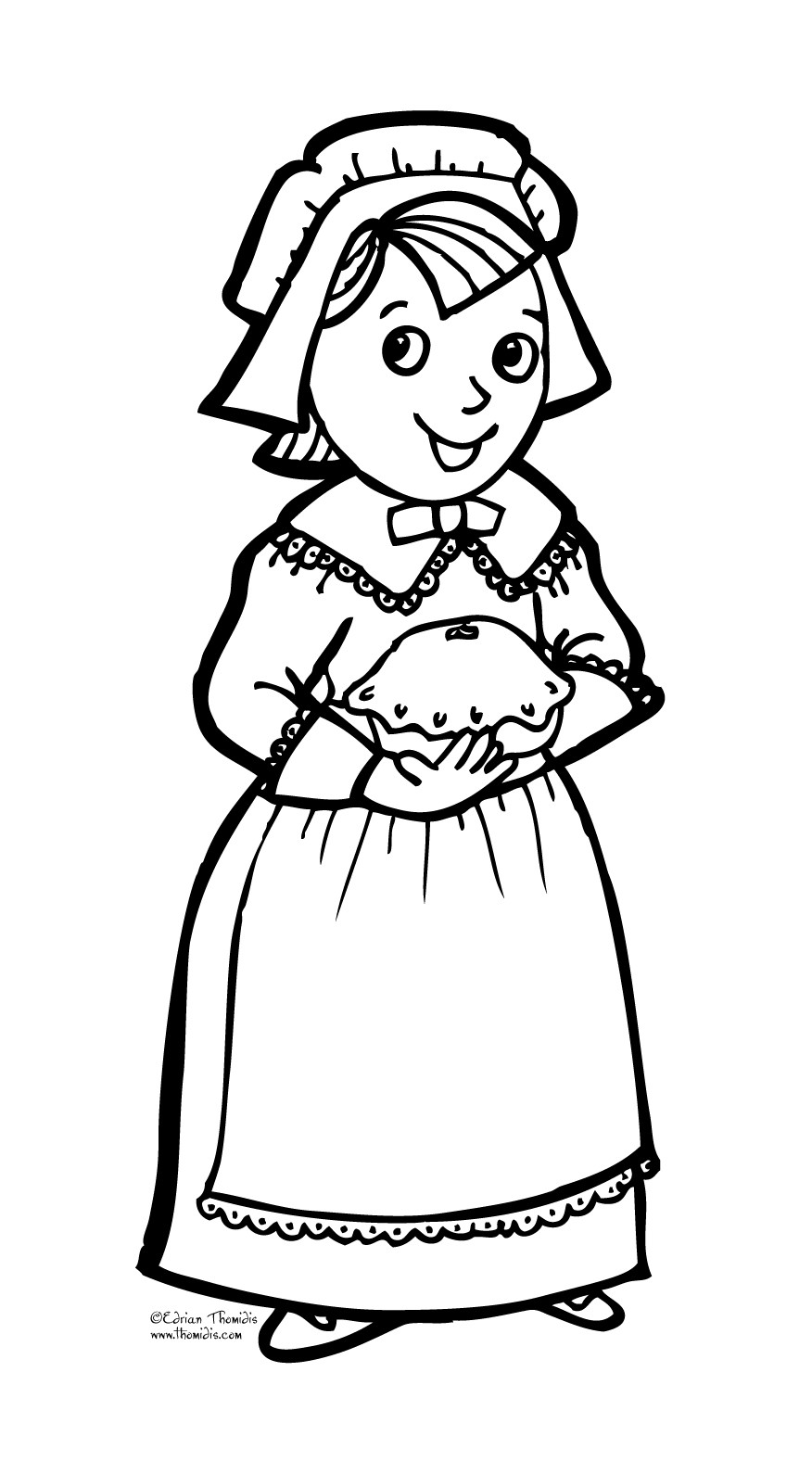 Thanksgiving Pilgrim Girl Coloring Pages  Children s Publishing Blogs Post from Blog TENENGO
