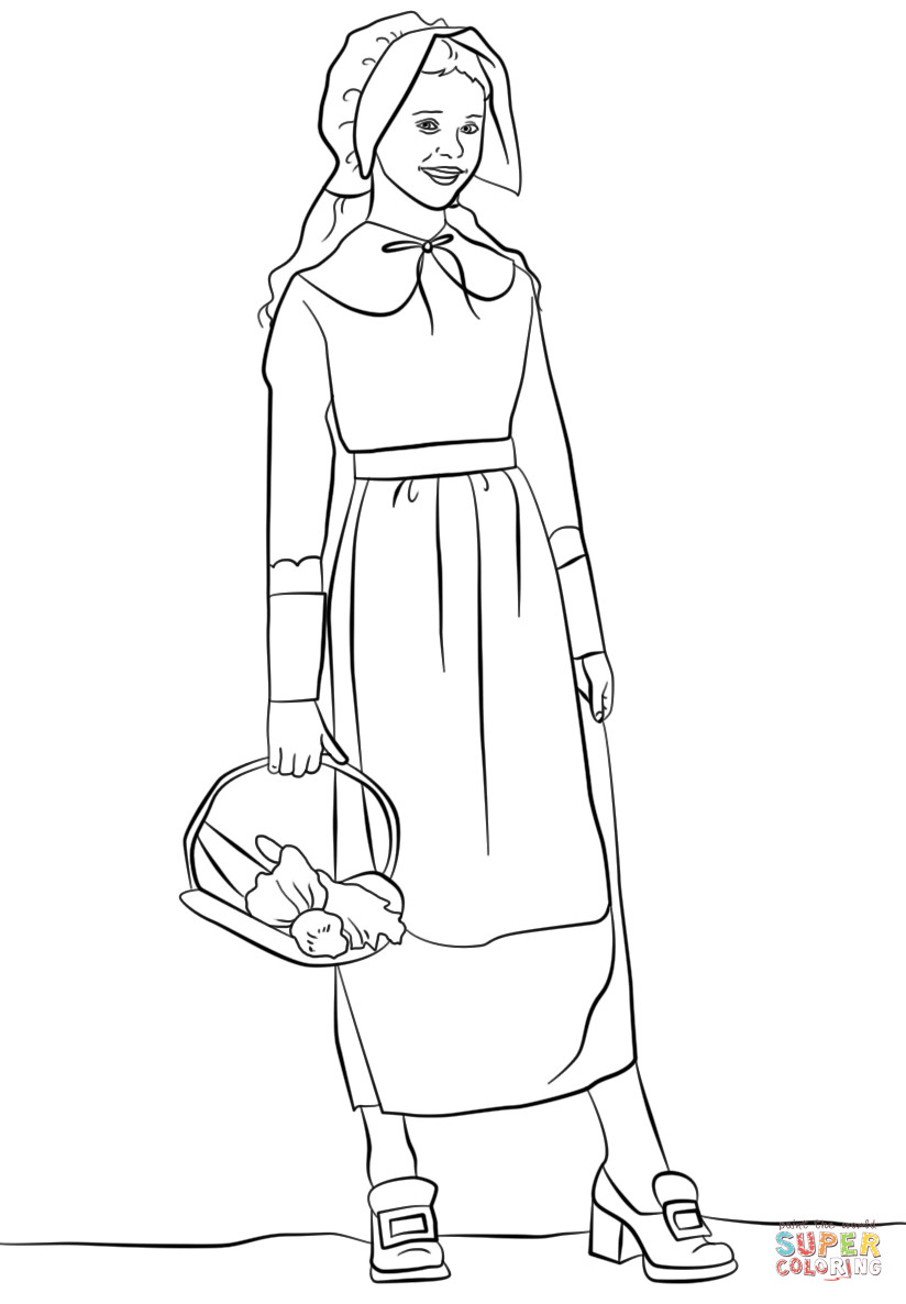 Thanksgiving Pilgrim Girl Coloring Pages  Pilgrim Girl coloring page